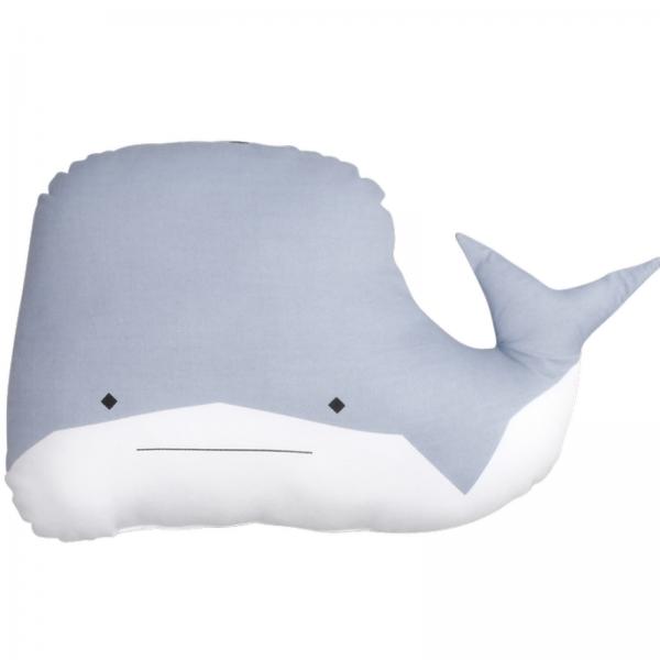 coussin baleine bleu BIO fabelab