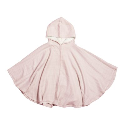 poncho bébé enfant BIO rose fabelab