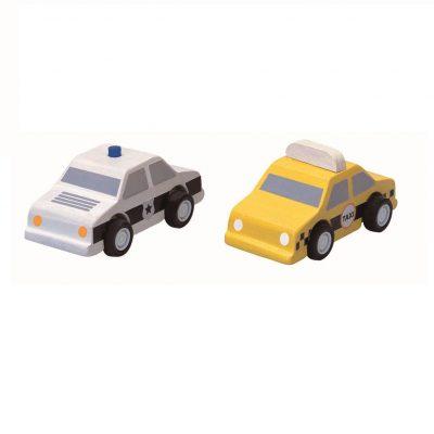 Taxi et Voiture de Police en bois plan toys