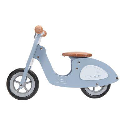 Scooter enfant bleu little dutch draisienne vintage en bois iziloo