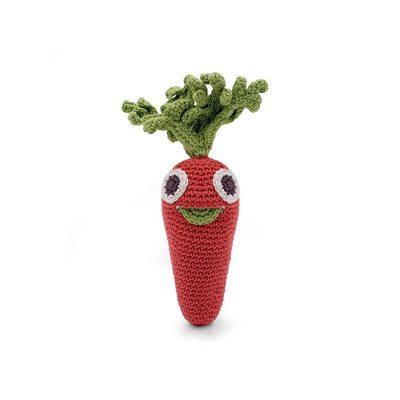 hochet carotte en crochet bio myum fruites et légumes en crochet